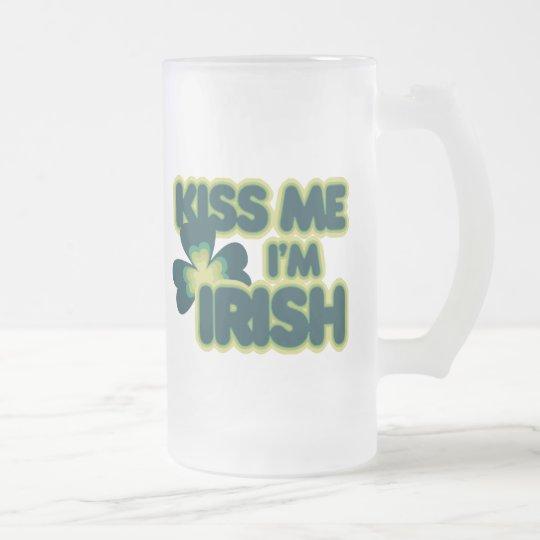 Kiss me Im Irish Frosted Glass Beer Mug