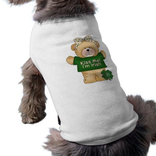 Kiss Me, I'm Irish Girl Bear Doggie T-shirt