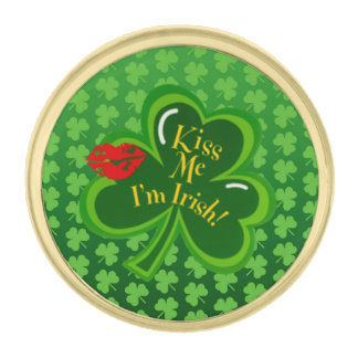 Kiss Me I'm Irish Gold Finish Lapel Pin