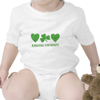 Kiss Me, I'm Irish Hearts and Shamrock Swirls Tshirt