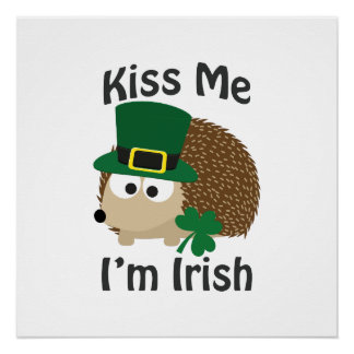 Kiss Me I'm Irish Hedgehog Perfect Poster