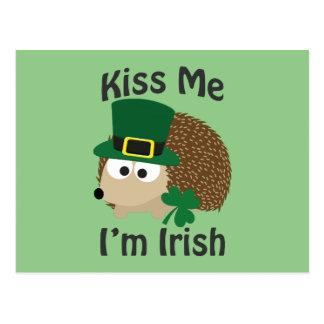 Kiss Me I'm Irish Hedgehog Postcard