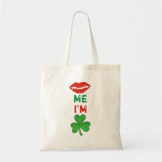 Kiss Me I'm Irish Lips Shamrock St. Patricks Tote