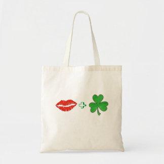 Kiss Me I'm Irish Lips + Shamrock Tote Bag