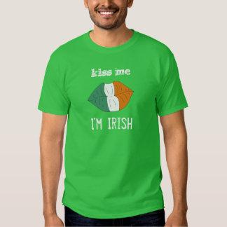 Kiss Me I'm Irish Lips with Irish Flag Funny Shirt