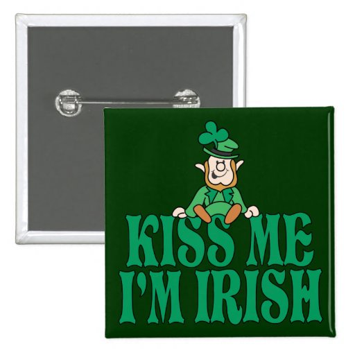 Kiss Me I'm Irish Little Leprechaun 2 Inch Square Button