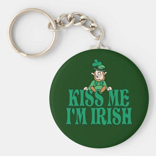 Kiss Me I'm Irish Little Leprechaun Basic Round Button Keychain