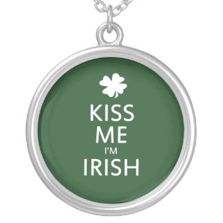Kiss me Im Irish Round Pendant Necklace