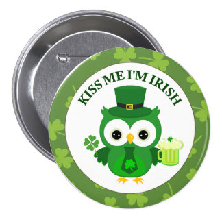 Kiss Me I'm Irish Owl with Green Beer Pinback Button