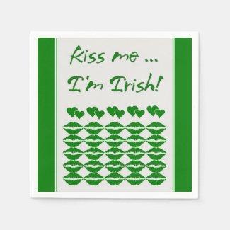 Kiss Me I'm Irish Paper Napkins Standard Cocktail Napkin