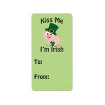 Kiss Me I'm Irish Pig Label