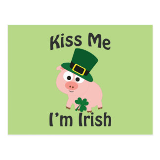 Kiss Me I'm Irish Pig Postcard