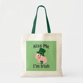 Kiss Me I'm Irish Pig Tote Bag