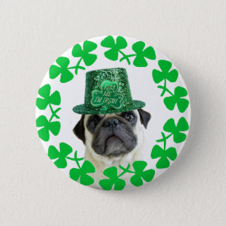 Kiss me i'm Irish pug button