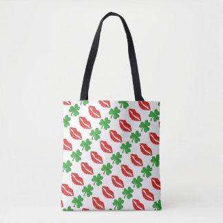Kiss Me I'm Irish Red Lips Green Shamrocks Bag