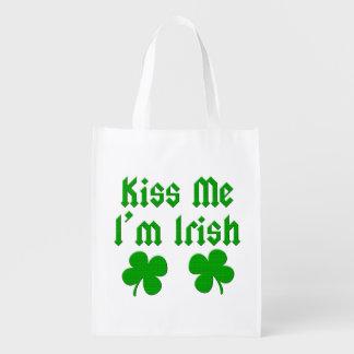 Kiss Me I'm Irish Reusable Totes Grocery Bags