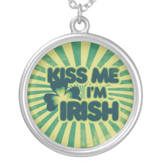 Kiss me I'm Irish Round Pendant Necklace