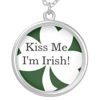 Kiss Me I'm Irish! Round Pendant Necklace