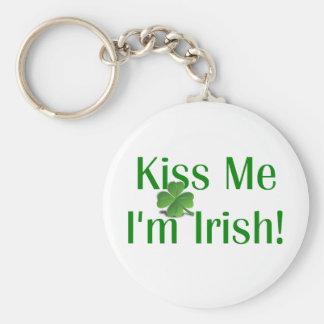 Kiss Me I'm Irish Shamrock Keychain