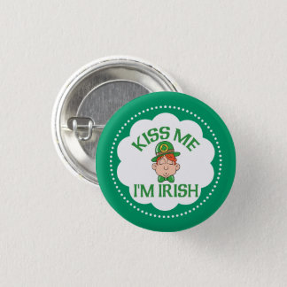 Kiss Me I'm Irish Smooching Man Pinback Button