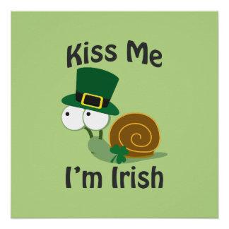 Kiss Me I'm Irish Snail Poster