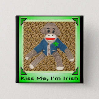 Kiss Me, I'm Irish Sock Monkey Pinback Button