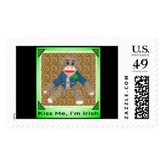 Kiss Me, I'm Irish - Sock Monkey Postage Stamp