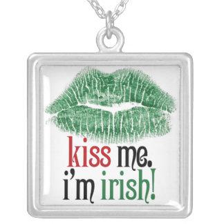 Kiss Me. I'm Irish. Square Pendant Necklace