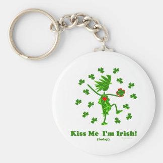 Kiss Me I'm Irish (Today) Gifts & T Shirts Basic Round Button Keychain