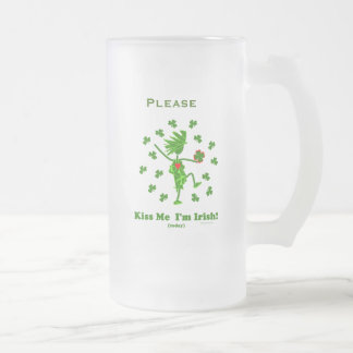 Kiss Me I'm Irish (Today) Gifts & T Shirts Frosted Glass Beer Mug
