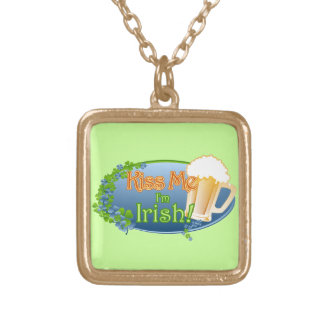 Kiss Me I'm Irish (Ver 1) Gold Plated Necklace