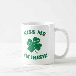 Kiss me I'm Irish Vintage Classic White Coffee Mug