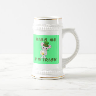 Kiss Me I'm Irish with Cute Mouse Beer Stein