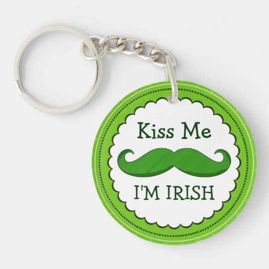 Kiss Me I'M IRISH with Green Funny Mustache Keychain