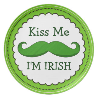 Kiss Me I'M IRISH with Green Funny Mustache Party Plate