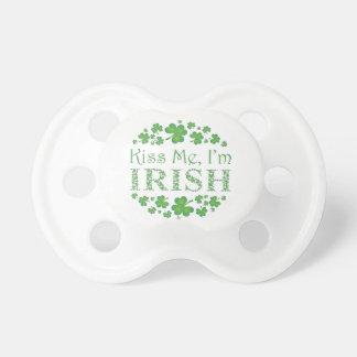 Kiss Me, I'm Irish with Shamrocks Baby Pacifiers