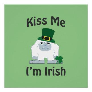 Kiss Me I'm Irish Yeti Poster