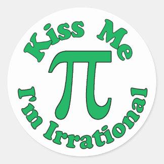 Kiss me, I'm Irrational Classic Round Sticker