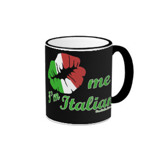 Kiss Me I'm Italian Black Background Ringer Coffee Mug