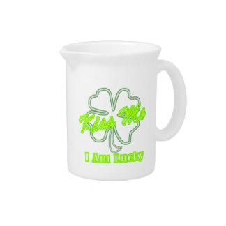 Kiss me I'm lucky Irish Drinking Team Drink Pitchers