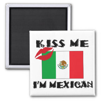 Kiss Me I'm Mexican 2 Inch Square Magnet