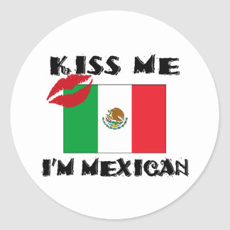 Kiss Me I'm Mexican Classic Round Sticker