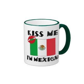 Kiss Me I'm Mexican Ringer Coffee Mug