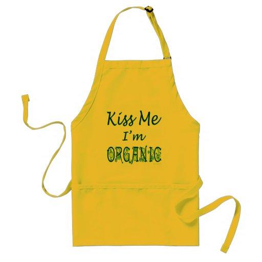 Kiss Me I'm Organic Green Saying Apron Aprons