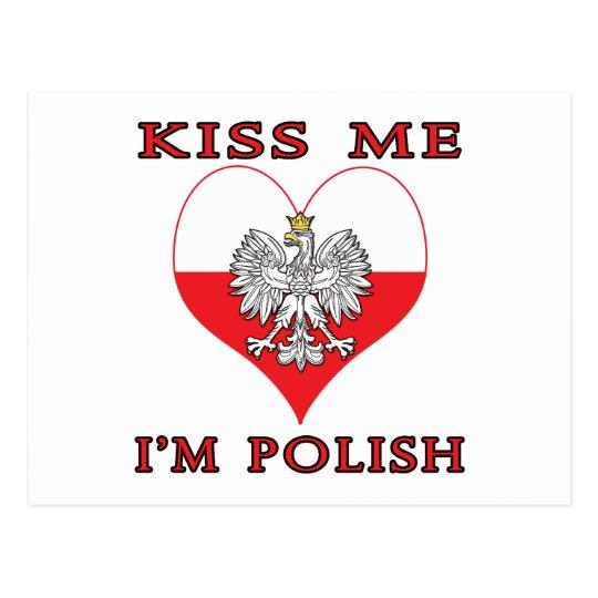 Kiss Me I'm Polish Postcard