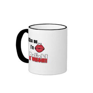 Kiss Me I'm Polish Ringer Coffee Mug