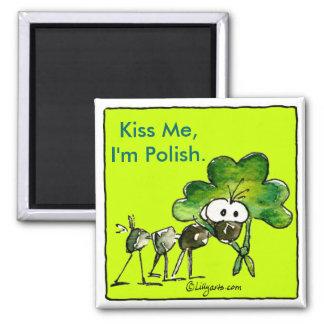 Kiss Me I'm Polish Shamrock Magnet