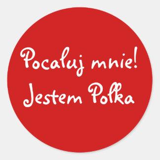 Kiss Me! I'm Polish Round Stickers