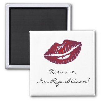 Kiss Me I'm Republican 2 Inch Square Magnet