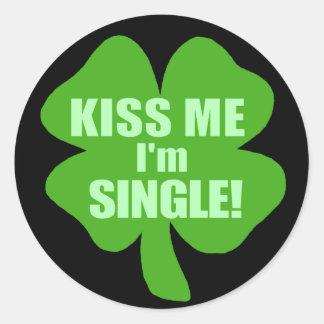 Kiss Me I'm Single Classic Round Sticker